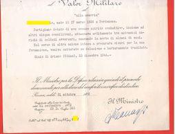 Diploma Attestato Medaglia Bronzo Valor Militare Di PARTIGIANO Trucidato A Giais Di Ariano Udine Nel 1944 - Diploma's En Schoolrapporten
