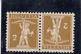 Suisse - Tête Bêche - N°YT 134a  - Neuf** - Année 1910 - Inverted (tête-bêche)