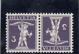 Suisse - Tête Bêche - N°YT 135a  - Neuf** - Année 1910 - Kehrdrucke