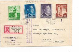 LE 0849. Mi 42-69-75-81 ZABNO über Dabrowa 14.III.42 S/Lettre RECOMMANDEE V. GENT (B). Censure. TB - 1939-44: World War Two