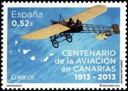 España 2013 Edifil 4796 Sello ** Centenario De La Aviación En Canarias (1913-2013) Avión 0,52€ Spain Stamps Timbre - 1931-Oggi: 2. Rep. - ... Juan Carlos I