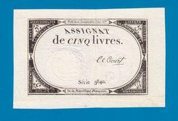 ASSIGNAT DE 5 LIVRES N° 39 MUSZYNSKI SIGNATURE LE COURT SÉRIE 3840 MARGES 10 BRUMAIRE AN 2ème  31 OCTOBRE 1793  Serbon63 - Assignats & Mandats Territoriaux