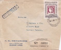 C G ORFANIDIS. ARGENTINE ENVELOPPE CIRCULEE DE BUENOS AIRES A CAPITAL, AN 1956. RECOMMANDE -LILHU - Argentinië