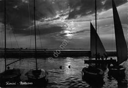 Cartolina Rimini Notturno Barca A Vela 1957 - Rimini