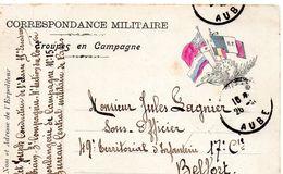 """CP- """" Correspondance Militaire  """" -  Troupes En Campagne -  5  Drapeaux - - Storia Postale"""