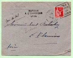 """DAGUIN - """"VISITEZ VERVINS ET LA THIERACHE"""" + Griffe """"RETOUR A L'ENVOYEUR 2896"""" - Sur Lettre 1934 - - Marcophilie (Lettres)"""