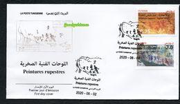 New 2020 - Tunisia - Rock Paintings: Djebel Ousselet ( Oueslatia) - Djebel Bliji (Tamaghza) - FDC - Tunesië (1956-...)