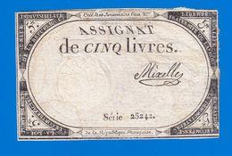 ASSIGNAT DE 5 LIVRES N° 39 MUSZYNSKI SIGNATURE MIXELLE SÉRIE 25242 10 BRUMAIRE AN 2ème  31 OCTOBRE 1793  Serbon63 - Assignats