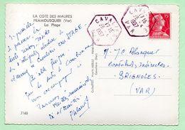 CACHET MANUEL - ROUGE - Agence Postale CAVALIERE / VAR - 1957 - - Marcophilie (Lettres)