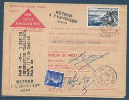 Retour à L'envoyeur à Numéro : 4803 (Chaville – Seine-et-Oise) Sur Carte Postale Remboursement Affr. 65 F Evian Et 20 F - Postmark Collection (Covers)