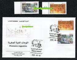 New 2020 - Tunisia - Rock Paintings: Djebel Ousselet ( Oueslatia) - Djebel Bliji (Tamaghza)- FDC+ Complete Set 2v.MNH** - Tunesië (1956-...)