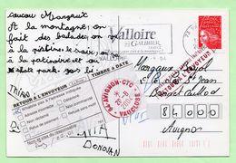 """Griffe """"RETOUR A L'ENVOYEUR"""" + Cachet MANUEL - ROUGE - Sur CP - - Marcophilie (Lettres)"""
