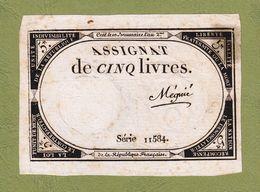 ASSIGNAT DE 5 LIVRES N° 39 MUSZYNSKI SIGNATURE MEGNIE SÉRIE 11584 MARGES 10 BRUMAIRE AN 2ème  31 OCTOBRE 1793  Serbon63 - Assignats