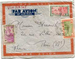 GUYANE FRANCAISE LETTRE PAR AVION AVEC AFFRANCHISSEMENT COMPLEMENTAIRE AU DOS DEPART CAYENNE 2-9-38 POUR LA FRANCE - Guyane Française (1886-1949)