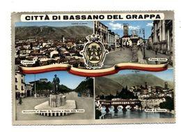 C3736 BASSANO DEL GRAPPA - PANORAMA PIAZZA LIBERTÀ PONTE MONUMENTO A GIARDINO E VIALE DELLE FOSSE VG 1959 ED. BERNARDI - Italia