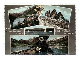C3739 LAGO DI AURONZO CON LE TRE CIME DI LAVAREDO ACQUARELLATA MULTIVEDUTE VG 1957 - ED. EDELWEIS CALALZO - Italia