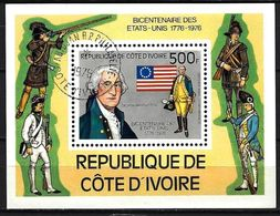 Célébrités Côte D'Ivoire 1976 (51) Bloc Yvert N° 6 Oblitérés Used - George Washington