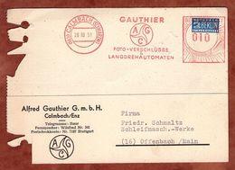 Karte, Absenderfreistempel, Vorausentwertete Notopfermarke, Gauthier Foto-Verschluesse, 10 Pfg, Calmbach 1951 (94589) - Briefe U. Dokumente