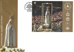 TIMBRES - STAMPS - FDC C6 163X229 - PORTUGAL - 2017 - CENTENAIRE DES APPARITIONS DE FATIMA - BLOC - Christendom