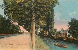 - Marne -ref-B10- Reims - Le Canal Et La Vesle - Canaux - Peniche -  Peniches - Barque - Carte Colorisée Bon Etat - - Reims
