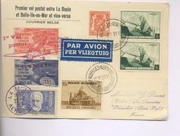 PREMIER VOL Entre LA BAULE -  BELLE ILE En Mer Avec Vignettes Et Aussi Tp Belge - 1927-1959 Lettres & Documents
