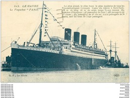 """Top Promotion : 76 LE HAVRE. Paquebot Transatlantique """" PARIS """" 1925 - Le Havre"""