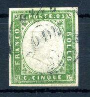 1855-63 SARDEGNA 5c USATO N.13 - Sardaigne
