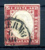 1855-63 SARDEGNA 40c USATO N.16 - Sardaigne