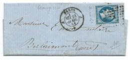 N° 14 BLEU NAPOLEON SUR LETTRE / PARIS J POUR BERLAIMONT / 23 AVRIL 1861 - 1849-1876: Période Classique