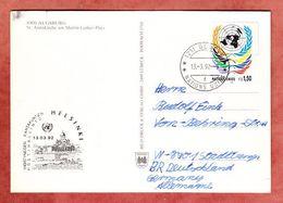 AK Augsburg St Annakirche, UNO-Emblem, Genf Nach Stadtberge 1992, Nebenstempel Helsinki (94600) - Genève - Kantoor Van De Verenigde Naties