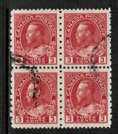 CANADA  Scott # 184 VF USED BLOCK Of 4 (Stamp Scan # 658) - Gebruikt