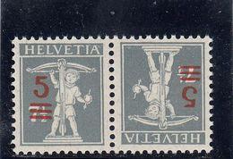 Suisse - Tête Bêche - N°YT 181b** - Année 1921 - Tête-Bêche (omgekeerd)