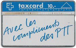 Switzerland - Swisscom (L&G) - V Cards - V-4B - Avec Les Compliments - 003A - 03.1990, 10Fr, 19.450ex, Used - Zwitserland