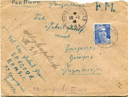 FRANCE LETTRE PAR AVION AVEC CACHET POSTE AUX ARMEES 20-7-4? T. O. E  + CACHET............POUR LA YOUGOSLAVIE - 1945-54 Marianne De Gandon