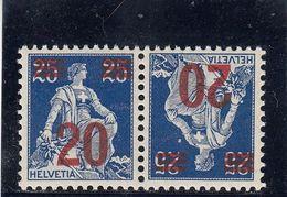 Suisse - Tête Bêche - N°YT 184a** - Neuf - Année 1921 - Kehrdrucke