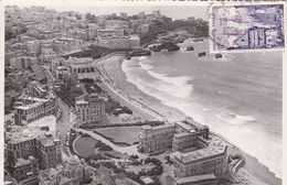 64 BIARRITZ . VUE AERIENNE. GRANDE PLAGE. HOTEL DU PALAIS. CASINO MUNICIPAL. CASINO BELLEVUE .ANNEE 1955 + TEXTE - Biarritz