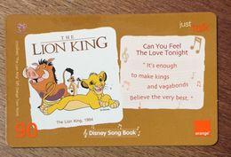 DISNEY LE ROI LION THE LION KING THAÏLANDE ORANGE RECHARGE GSM PREPAID PRÉPAYÉE - Disney