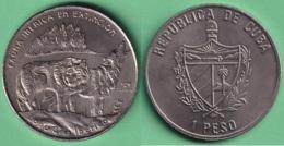 2004-MN-201 CUBA UNC 1$ CUPRO-NICKEL 2004. FAUNA IBERICA EN EXTINCION ESPAÑA. LOBO GRIS WOLF. - Cuba