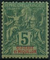 Saint Pierre Et Miquelon (1892) N 62 * (charniere) - Neufs