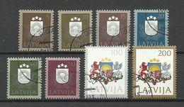 LETTLAND Latvia 1991 Michel 305 - 312 O Coat Of Arms Wappe - Latvia