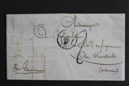 1849 LAC REIMS CAD DU01/12/1849 POUR LE HURTAULT CAD DE SIGNY-L'ABBAYE CAD TYPE 15 DU 02/12/1849 TAXE MANUSCRITE.. - Marcofilia (sobres)
