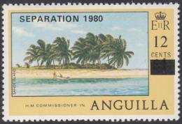 Anguilla 1980 MNH Sc #408 Separation 1980 O/P On 12c On $1 Sandy Island, Palm Trees - Anguilla (1968-...)