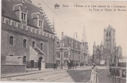 Be - Cpa GAND - L'Entrée Et Le Côté Latérale Du Lindeworm - La Poste Et L'Eglise St Nicolas - Gent