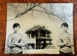 MONTAGE PHOTO SNAPSHOT VIETNAM INDOCHINE JEUNE HOMME BOY TEMPLE SURREALISME PHOTOMONTAGE SURRELISM - Fotografía