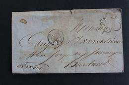 1853 LAC CHAUNY CAD DU 21/12/1853 POUR HURTAUT CAD ARRIVEE SIGNY-L'ABBAYE DU 23/12/1853 TAXE TAMPON 25CENTIMES - Marcofilia (sobres)