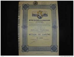 """Action De Capital.""""Office Du Cuir Et De La Chaussure De Belgique"""" Bruxelles 1929 Excellent état,avec Tous Les Coupons. - Industrie"""