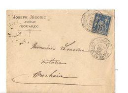 B20 1896  Lettre De Gouarec Pour  Carhaix  Divers Cachets - Postmark Collection (Covers)
