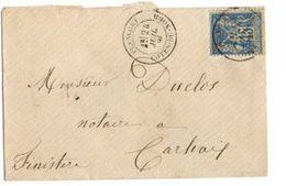 B20 1886 Lettre De Plancoet A Carhaix  Cachets  Dont Ambulants - Postmark Collection (Covers)