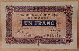 NANCY (54) 1 Franc 1 Janvier 1921 Série 27 E- Chambre De Commerce - Chamber Of Commerce