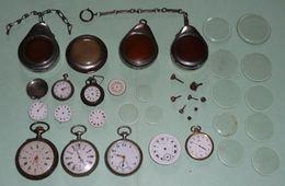 Lot Pour Pièces/à Restaurer Montres Gousset, Verre Remontoirs Boitiers Mouvement - Antike Uhren
